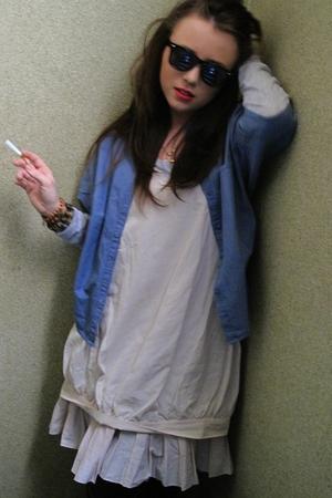 black asos sunglasses - blue COS jacket - gray COS shirt - beige COS dress