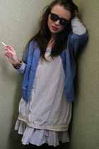 black asos sunglasses - blue COS jacket - gray COS shirt - beige COS dress