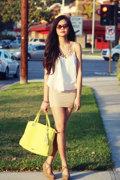 white chiffon Greenlane top - mustard metallic H&M skirt - leopard So FAB wedges