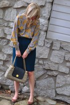 bag - vintage top - vintage skirt - flats
