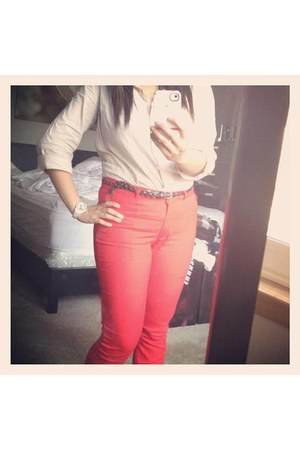 bright red pants - watch - button up blouse - flats