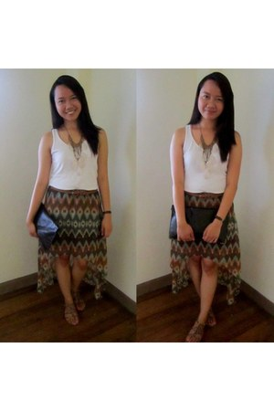 kirra skirt - Forever 21 bag - Black Poppy sandals - Forever 21 top