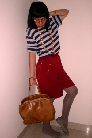 glasses - blouse - shorts - purse - tights - shoes