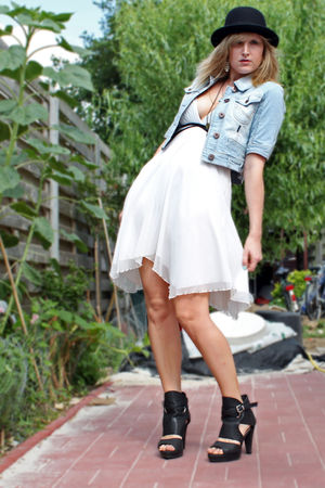 black Ebay hat - black Tessenderlo shoes - white Jane Norman dress