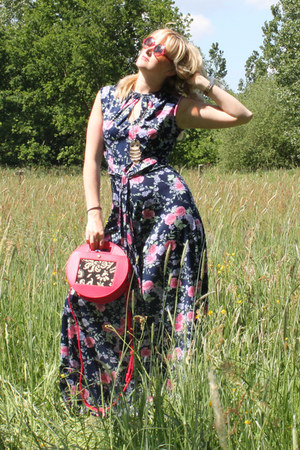 vintage floral wwwshopdixicom dress - custom made Mano Mundo Festival purse
