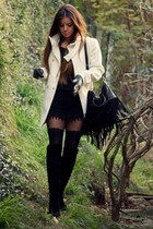 white winter white Mango coat - black fringe Polyvore bag
