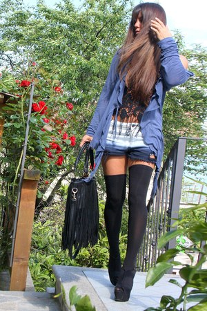 black black Jeffrey Campbell heels - off white Tally Weijl shorts