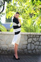 white celine Zara skirt - black stripes Zara jumper - black suede Zara heels