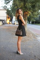 brown Louis Vuitton bag - black ovs dress - neutral Manolo Blahnik heels