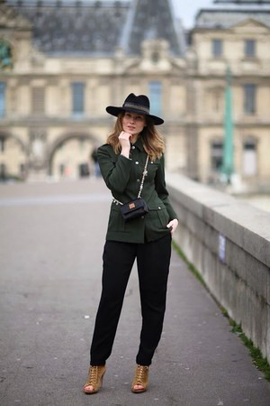 dark green blazer - black hat - black bag - black pants