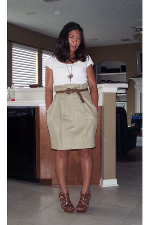 white rue21 top - beige BCBG skirt - brown Cynthia Vincent for Target shoes - br