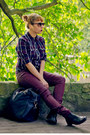 Deep-purple-plaid-h-m-shirt-crimson-reserved-pants