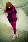 Pink-timberland-boots-magenta-bershka-sweater-magenta-h-m-scarf