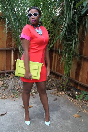 Francesca purse - J Taylor dress - Buffalo Exchange sunglasses - unisa pumps