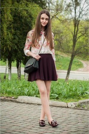 crimson Bershka skirt - pink Sheinside shirt - black Stradivarius bag