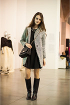 black pull&bear boots - black Sheinside dress - silver Sheinside coat