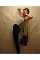 beige Zara top - black Talula pants - brown purse