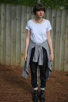 black booties Topshop boots - white t-shirt Gap shirt