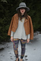 heather gray gray Anthropologie hat - camel faux leather Target jacket