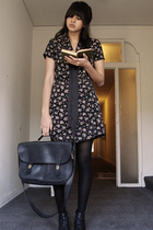 thrifted dress - thrifted shoes - thrifted purse
