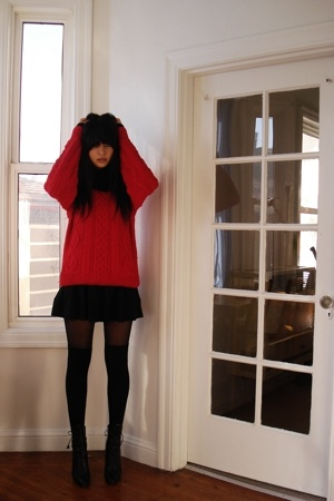 black wool H&M dress - black lace up Prada boots