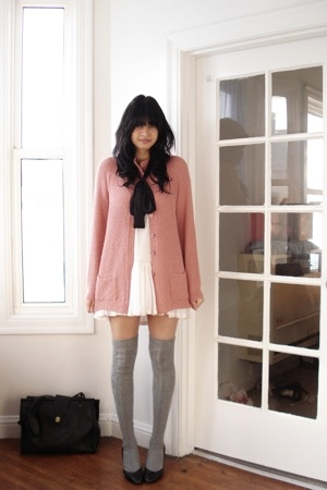 pink thrifted sweater - gray over the knee Target socks