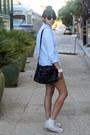 Black-cotton-theory-shorts-light-blue-cotton-oxford-uniqlo-shirt