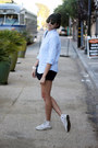 Black-cotton-theory-shorts-light-blue-cotton-oxford-uniqlo-shirt