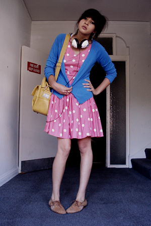 pink polka dot Buffalo Exchange dress - brown cutout oxfords thrifted shoes
