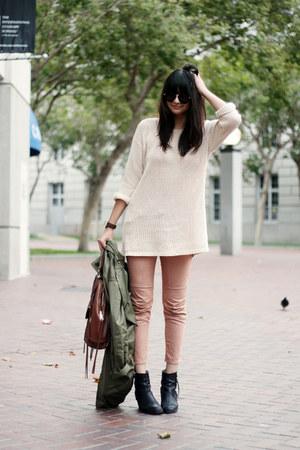 vintage sweater - acne boots - Rebecca Minkoff bag - Karen Walker sunglasses