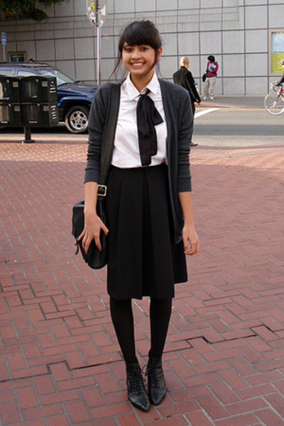 thrifted skirt - Jcrew shirt - American Apparel sweater - thrifted shoes
