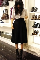 black wool H&M skirt - black lace up booties Prada shoes