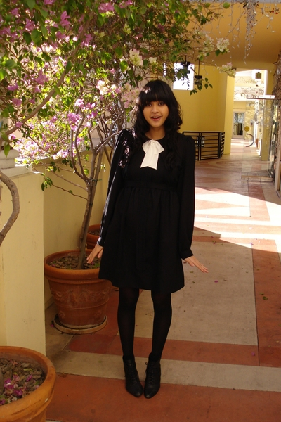 black See by Chloe dress - black lace up thrifted boots