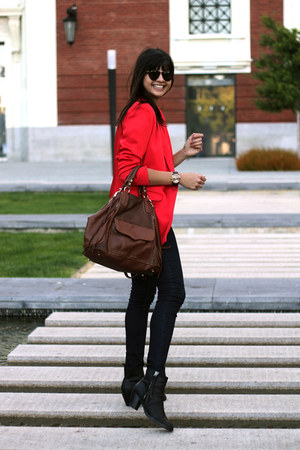 red whyred blazer - navy item denim jeans - dark brown Rebecca Minkoff bag
