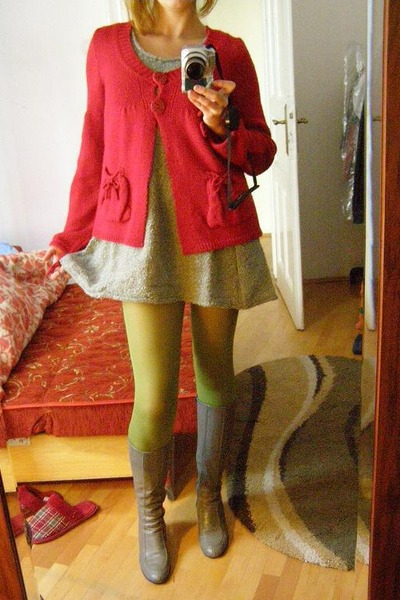 silver sandokan dress - lime green susi tights - red my s cardigan - silver leat