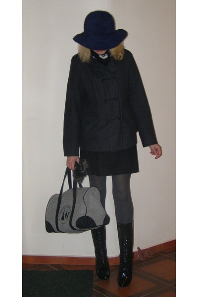 dark gray wool Tara coat - navy angora wool Zara hat - heather gray tights