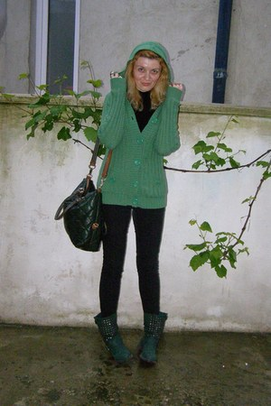 green hooded Only cardigan - black H&M pants