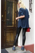 navy Feel Queen boots - black Alcott leggings - navy Bershka shirt