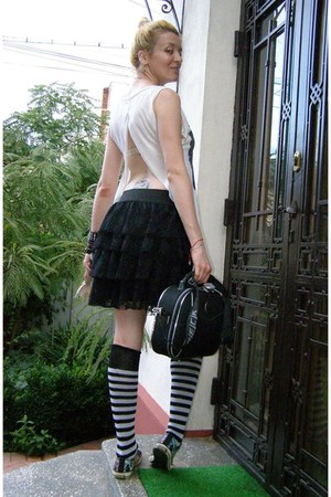 black beck purse - white cropped EMO top - black Ed Hardy sneakers