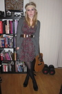 Black-office-shoes-red-h-m-dress-gray-h-m-cardigan-beige-claires-accessori