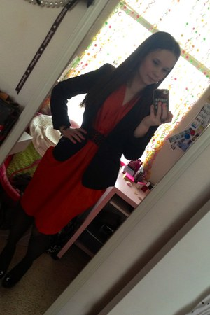 black Forever 21 blazer - carrot orange H&amp;M dress - black tights