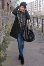 black leather Zara coat - navy navy River Island jeans