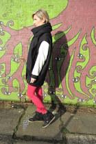 black and white Zara coat - red Zara pants - black River Island sneakers