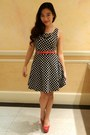 Black-polka-dot-charlotte-russe-dress-red-pumps