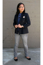 Polo Ralph Lauren blazer - vintage blouse - Uniqlo jeans - Old Navy shoes