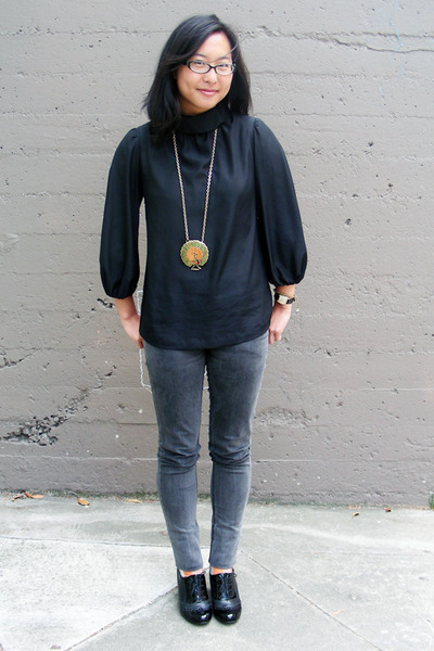 Uniqlo blouse - Cheap Monday jeans - Aldo shoes - vintage necklace