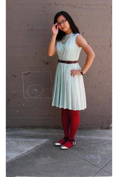 vintage dress - Rachel Comey belt - HUE tights - f-troupe shoes - Anthropologie