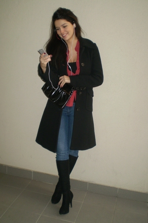 black Mango coat - red Mango shirt - blue Mango jeans - red Bijou Brigitte earri