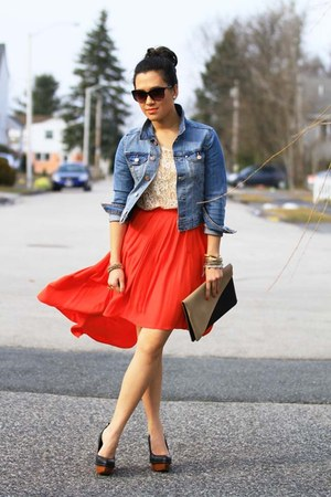 carrot orange H&amp;M skirt - jacket - camel DIY purse