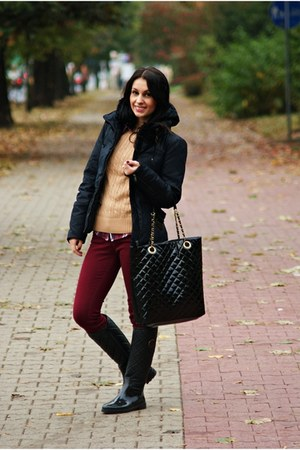 crimson Stradivarius pants - black Zara jacket - black Atmosphere bag